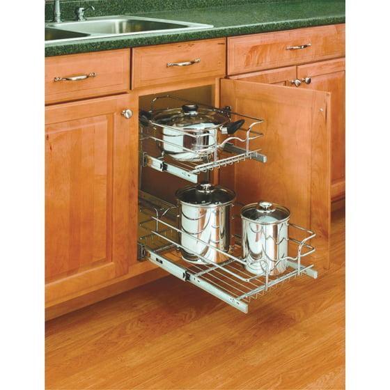 Rev A Shelf 2 Tier Pull Out Base Cabinet Basket Drawer: Rev-A-Shelf 2-Tier Pull-Out Cabinet Organizer