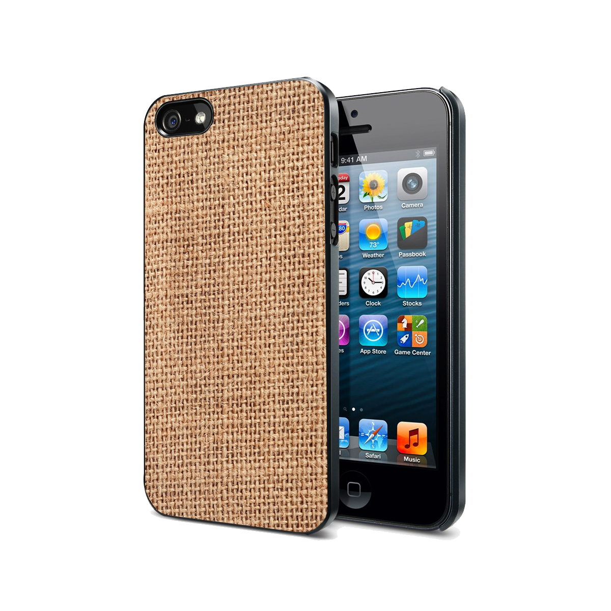 KuzmarK Black Cover Case fits iPhone SE & iPhone 5 - Burlap