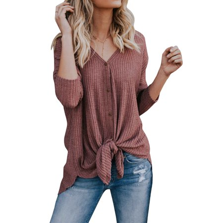 Long Sleeve Women Front Knot Blouse Solid Color Casual Button (Cascade Front Blouse)