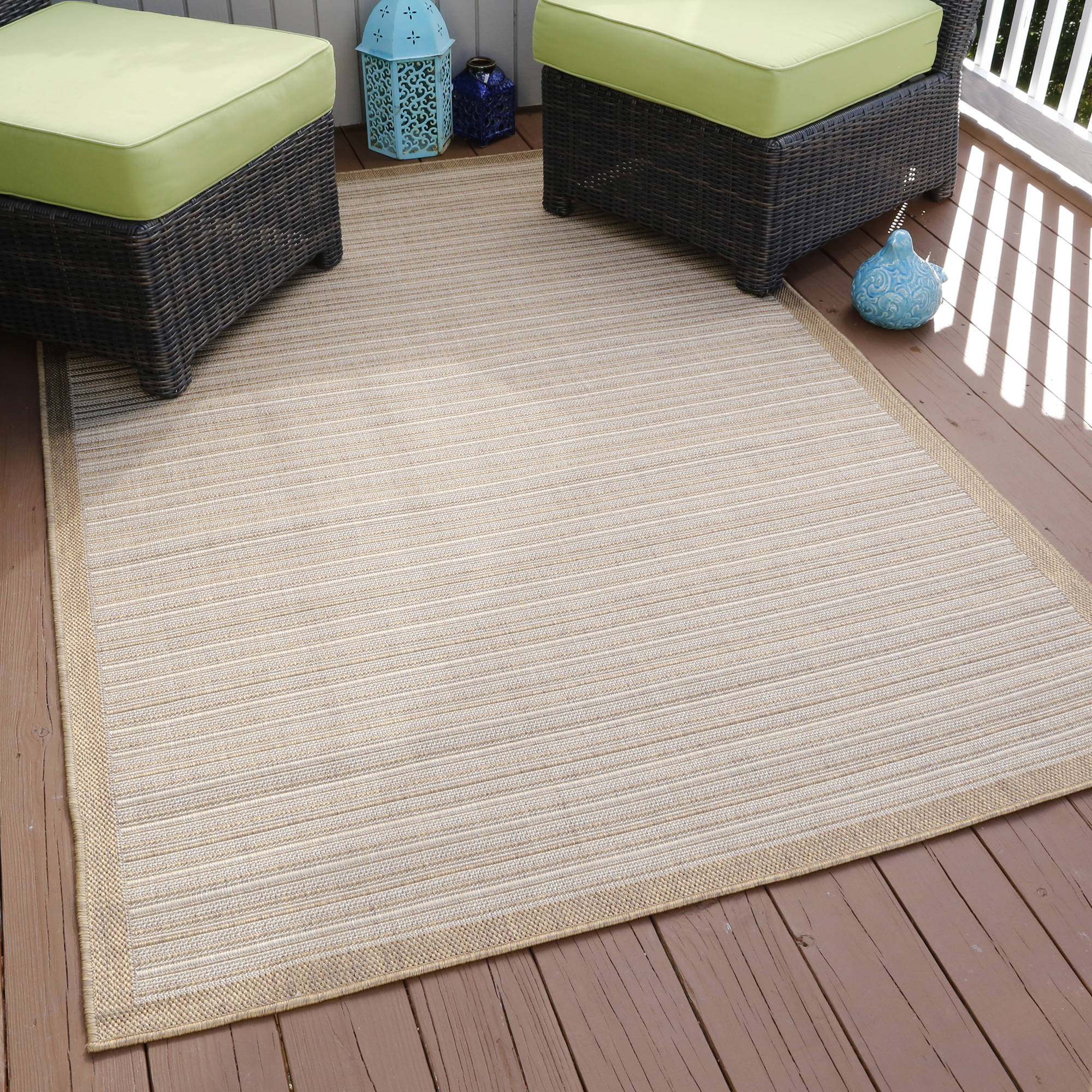Somerset Home Casual Stripe Indoor/Outdoor Area Rug, Beige, 5' x 7'7""