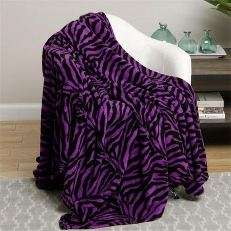 Plazatex Queen Size Zebra Microplush Blanket Purple
