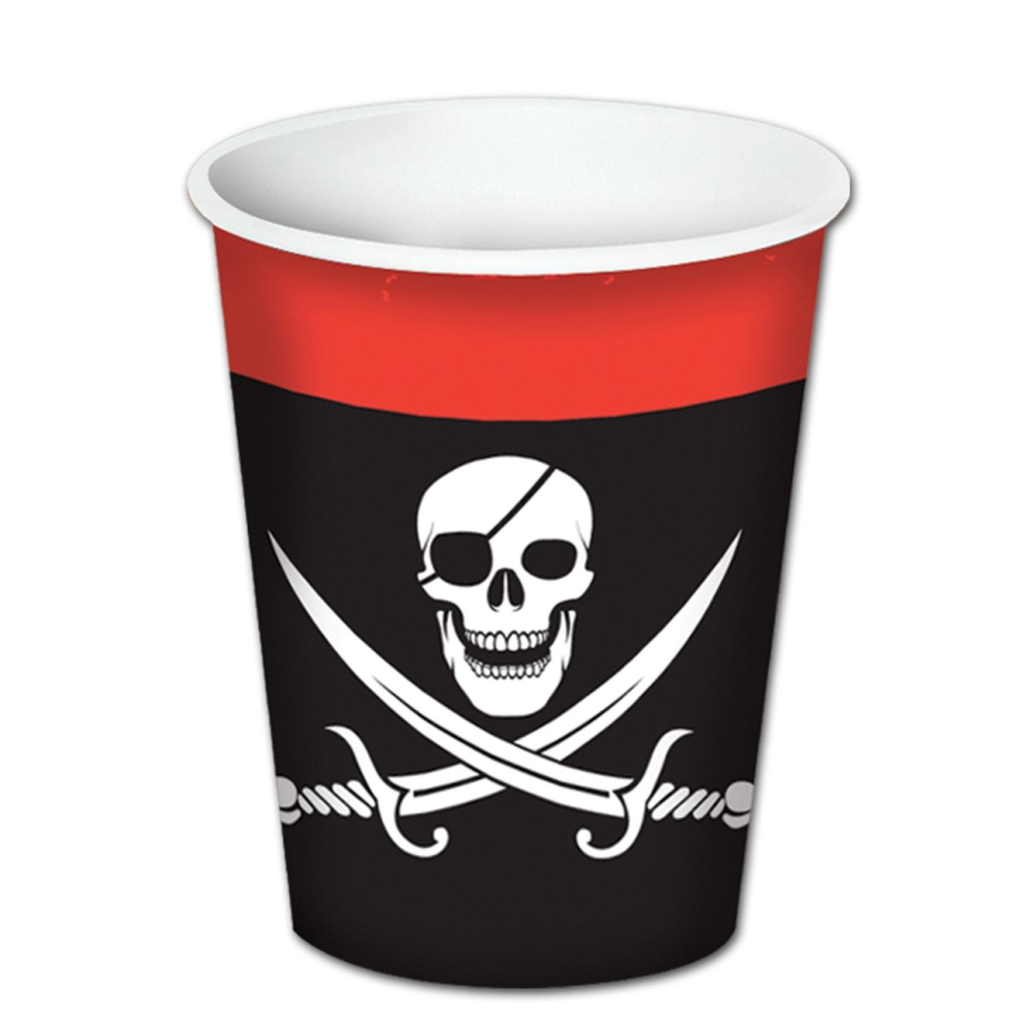 Club Pack of 96 Pirate Disposable Paper Hot and Cold Beverage Cups 9 oz.