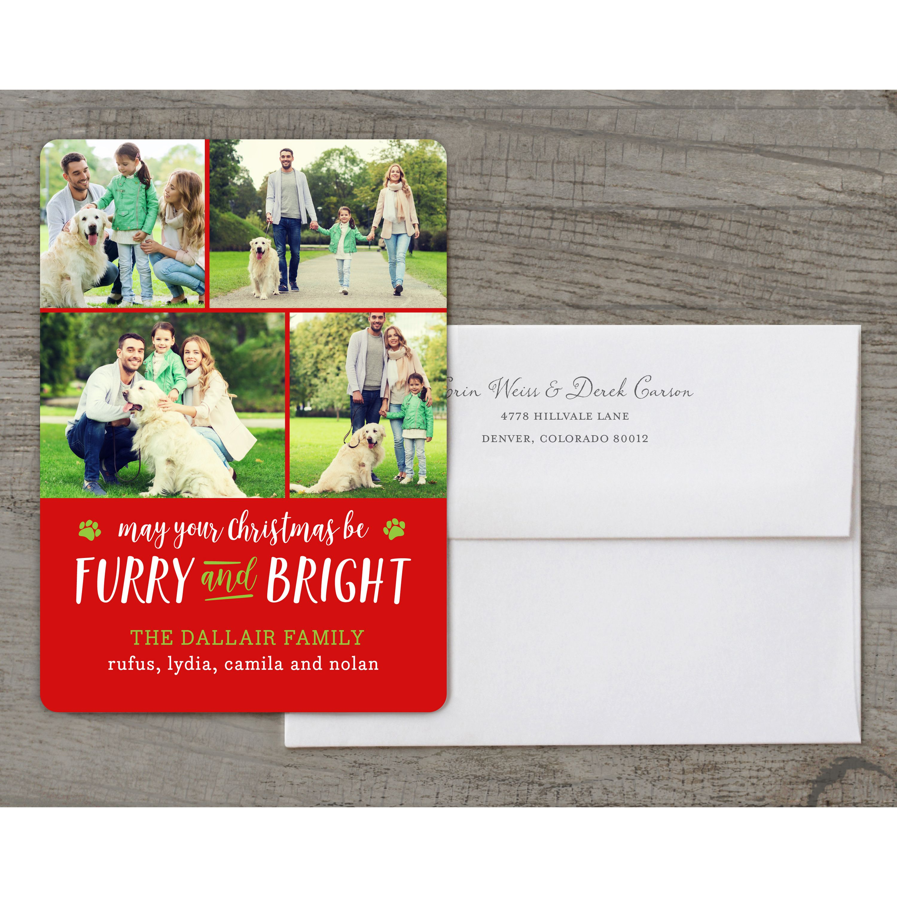 Furry and Bright - Deluxe 5x7 Personalized Holiday Pet Holiday Card