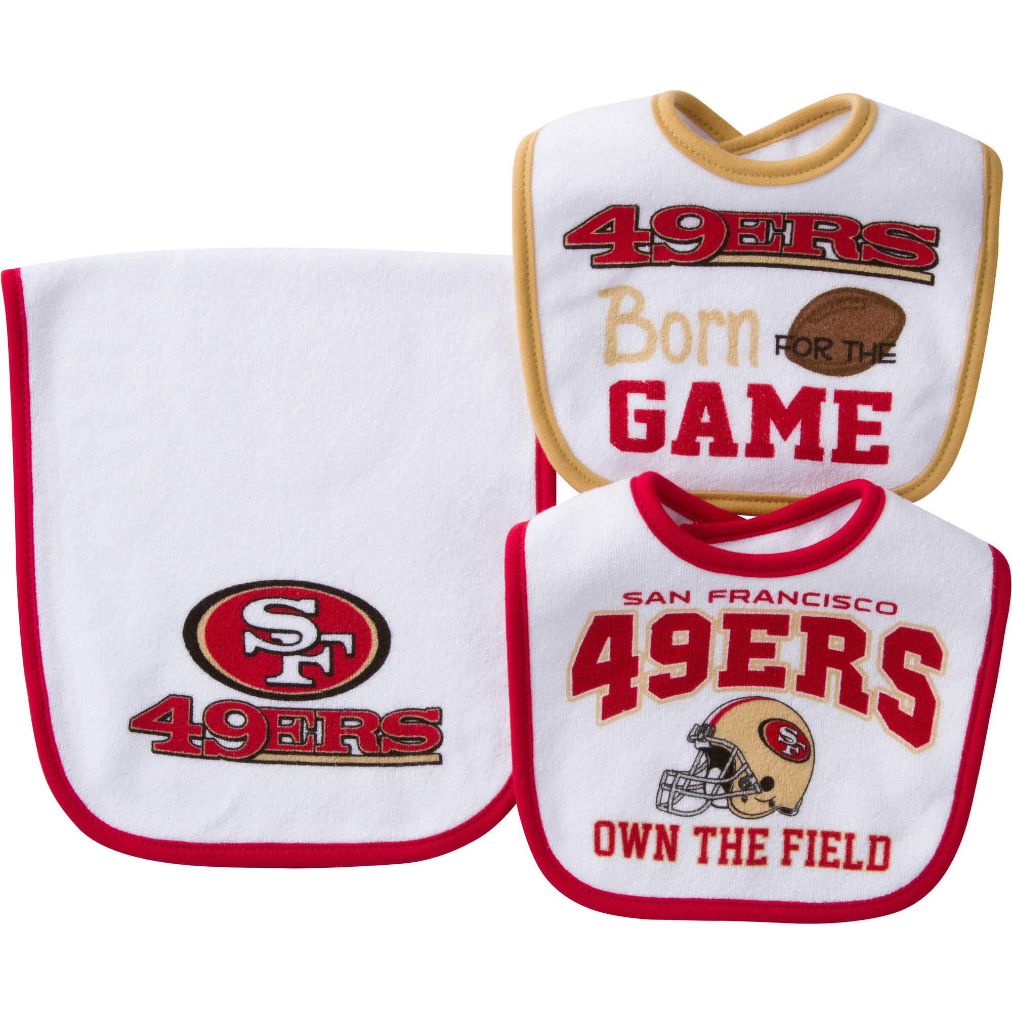 NFL San Francisco 49ers Baby Accessory Set, 2 Bibs and 1 Burp Cloth, 3-Piece