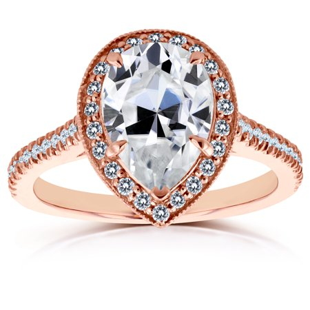 Pear Shape Moissanite Engagement Ring with Halo Diamond 2 1/2 CTW 14k Rose Gold