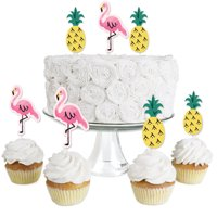 Pink Flamingo - Party Like a Pineapple - Dessert Cupcake Toppers -Tropical Summer Party Clear Treat Picks -Set of 24