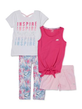 Marika Girls 4-12 Graphic Tie-Front Performance T-shirt, Tank Top, Leggings and Mesh Short, 4-Piece Active Set