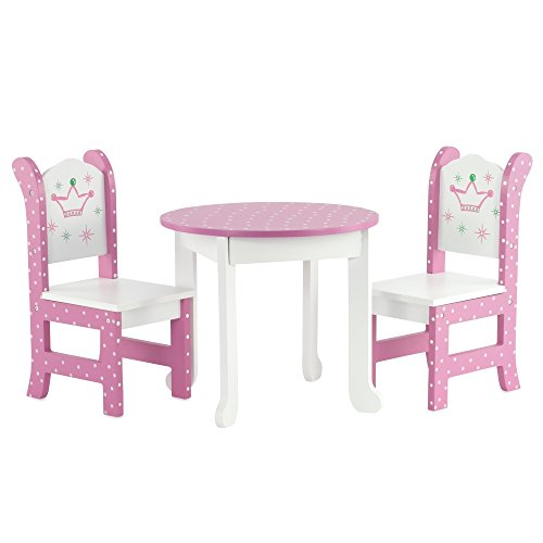 "18 Inch Doll Furniture Fits American Girl Dolls 18"" Wish Crown Table and Chairs by Emily Rose Doll Clothes"