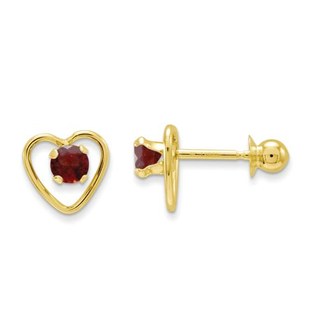 Childrens 14k Gold Heart Earring (Childrens 14k Yellow Gold Polished 3mm Garnet Birthstone Heart Earrings)