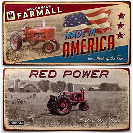 Farmall Tractor Signs - 049-13986 Farmall Tin Sign Set Of 2, Tin signs set of 2 for the nostalgic tractor and farm buff. By IWGAC
