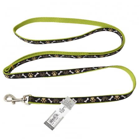 "Pet Attire Ribbon Nylon Dog Leash Brown Paws Bones - 6' Long x 5/8"" Wide"