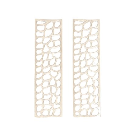 Decmode Set of 2 modern 32 x 9 inch rectangular white aluminum with irregular cut out shapes wall decor, Silver (Wall Cut Outs)