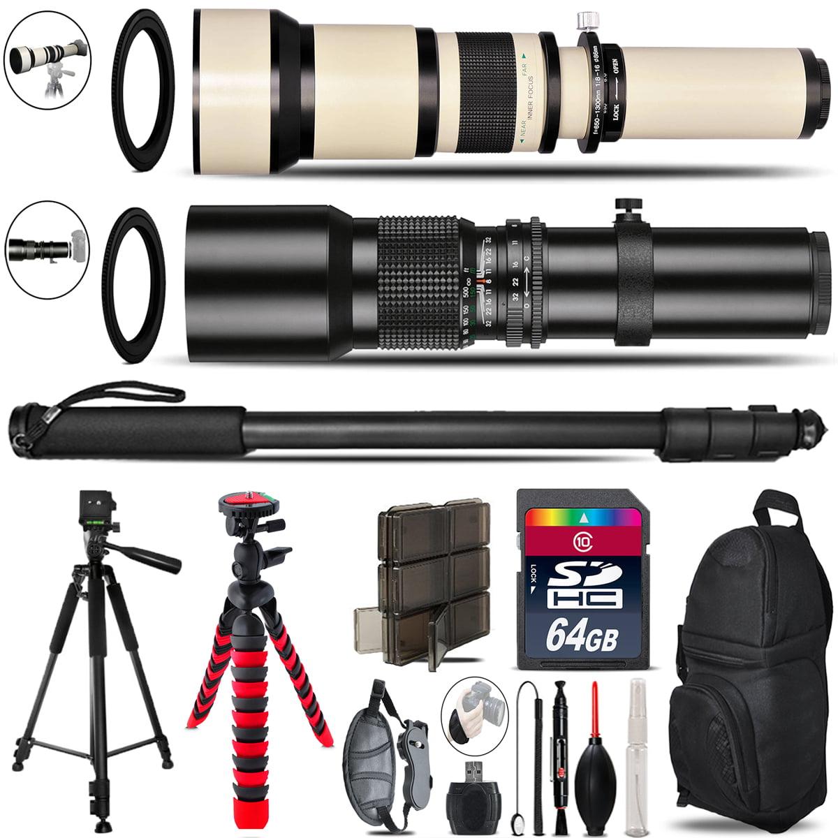 500mm-1300mm Telephoto Lens for Rebel T6 T6i + Triple Tripod Bundle - 64GB Kit