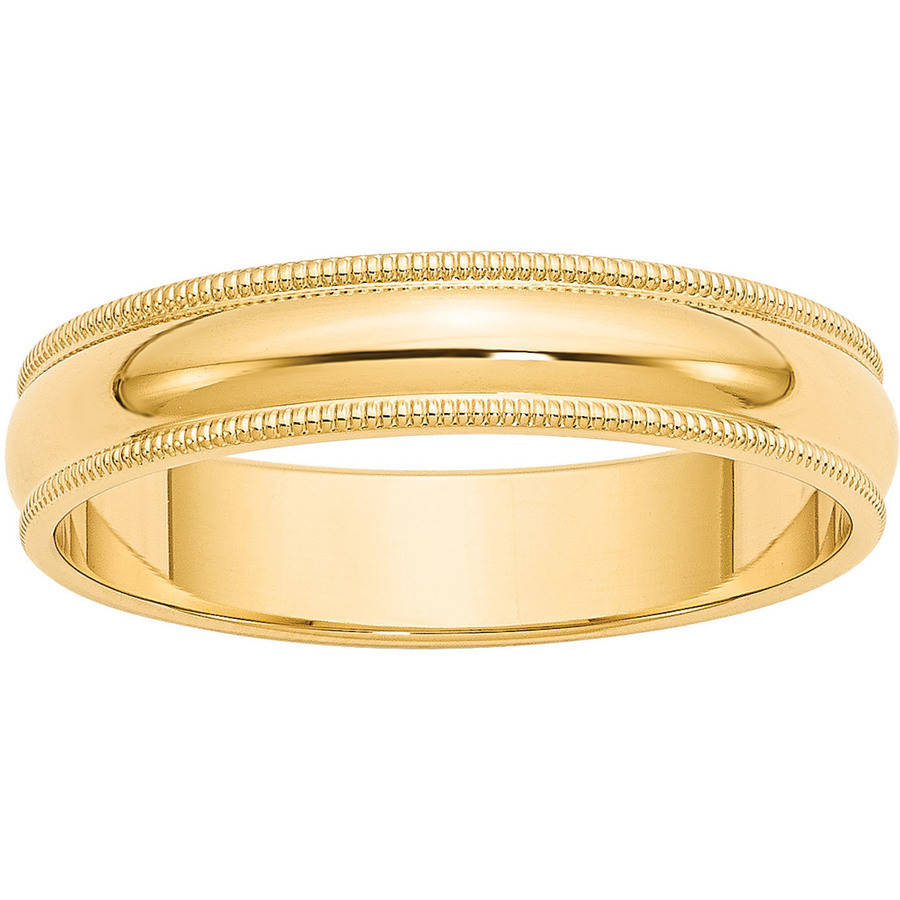 14k 5mm Milgrain Half-Round Wedding Band by Generic