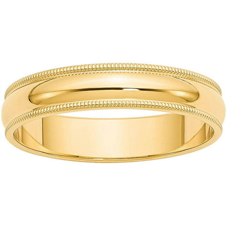 14k 5mm Milgrain Half-Round Wedding Band