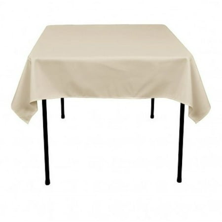 "54"" x 54 inch Square Overlay Tablecloth 100% polyester Wholesale Wedding party"", (Color: beige)"