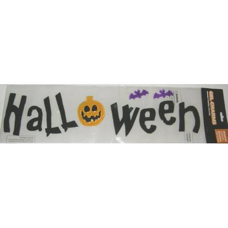Black Halloween Purple Bats and Jack-O'-Lantern Gel Window Clings - Martha Stewart Halloween Window Clings