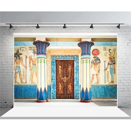 GreenDecor Polyster 7x5ft Ancient Egyptian Mural Backdrop Old Fresco Photography Background Stone Wall Painting Egypt History Religion Culture Civilization Photo Shoot Studio Props Video Drop Drape - Stone Wall Background