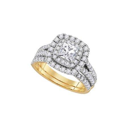 14kt Yellow Gold Womens Princess Diamond Solitaire Bridal Wedding Engagement Ring Band Set 7/8 Cttw - image 1 de 1
