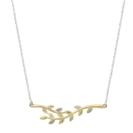 Dazzlingrock Collection 0.05 Carat (ctw) 10K Round Diamond Ladies Leaf Vine Pendants (Silver Chain Included), Yellow Gold Beveled Leaf Collection Pendant
