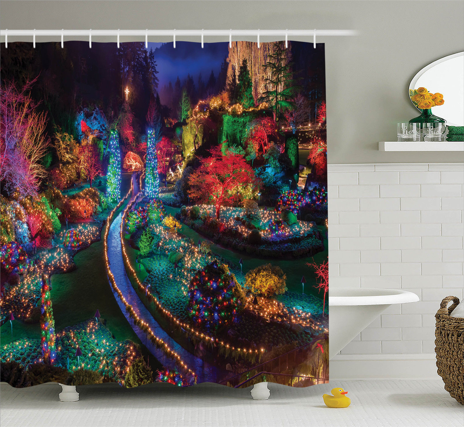Country Home Decor Shower Curtain Set, Colorful Christmas Light At Buchart, Gardens Celebrations Seasonal Nature Picture, Bathroom Accessories, 69W X 70L Inches, By Ambesonne