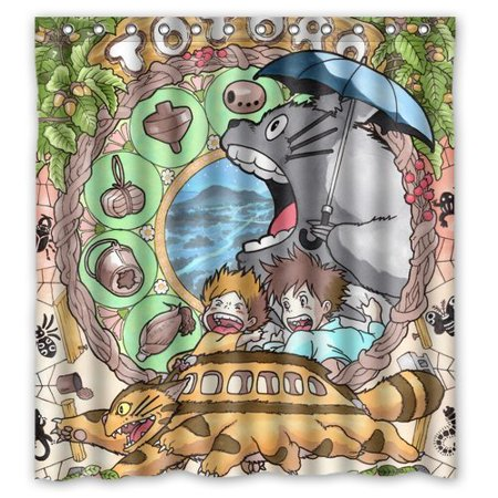 DEYOU My Neighbor Totoro Shower Curtain Polyester Fabric Bathroom Size 66x72 Inch