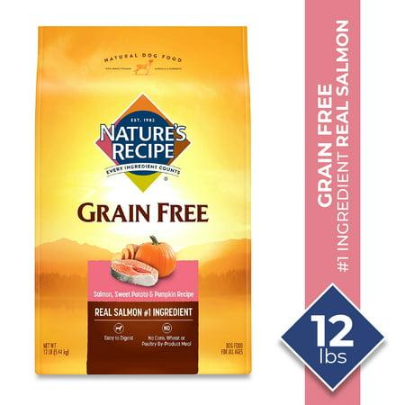 Nature's Recipe Grain Free Salmon, Sweet Potato & Pumpkin Recipe Dry Dog Food, 12 Pounds, Easy to