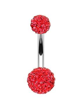 BodyJ4You Belly Button Ring Disco Ball Aurora CZ Crystal 14G Navel Barbell Banana Bar Body Jewelry