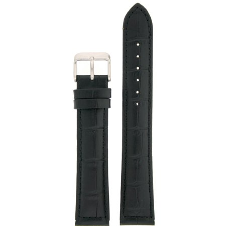 Black Alligator Leather Band - Watch Band XXL Long Genuine Leather  Black Alligator Grain 18mm