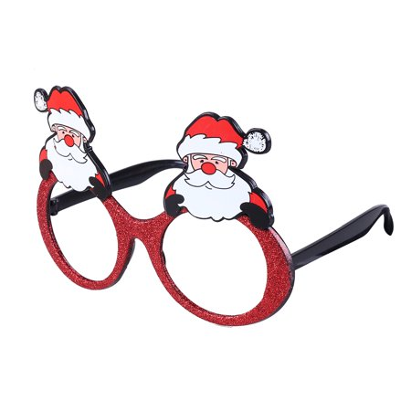 Fancy Dress Christmas Party Sunglasses Glittering Santa Claus Funny Glasses Xmas Decoration Novelty Costume Holiday Sunglasses (White - Novelty Spectacles