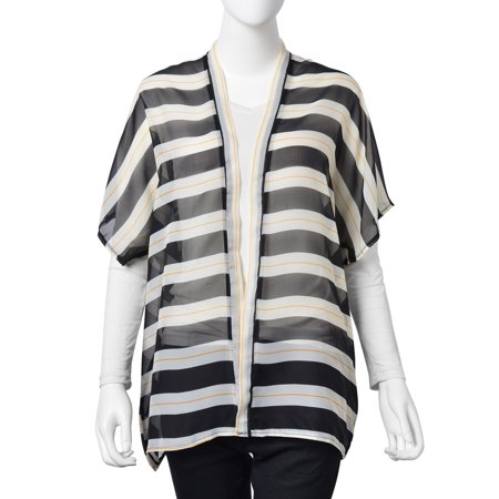 450ef3d5253ac Shop LC - Black and White 100% Polyester Stripe Pattern Swimsuit Cover-ups  Kimono For Women 27.5x29.93 - Walmart.com