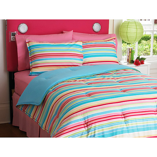 Your Zone Reversible Comforter and Sham Set, Multi Stripe/Skylight