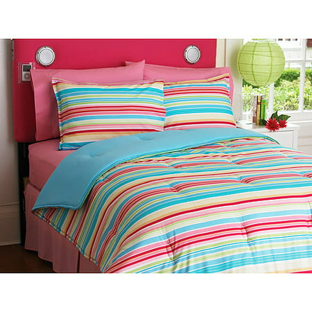 Your Zone Reversible Comforter And Sham Set Multi Stripe