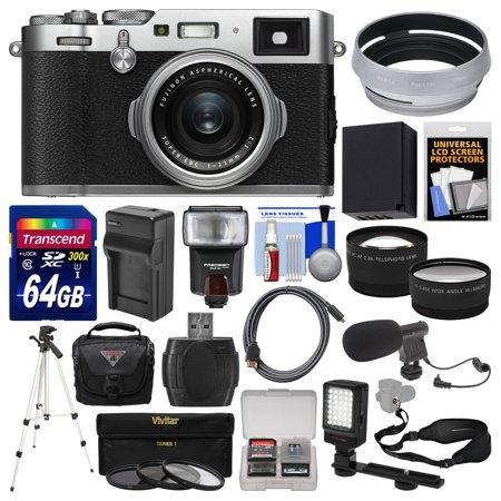 Fujifilm X100F Wi-Fi Digital Camera (Silver) with 64GB Card + Case + Flash  + Battery & Charger + Tripod + Tele/Wide Lens Kit