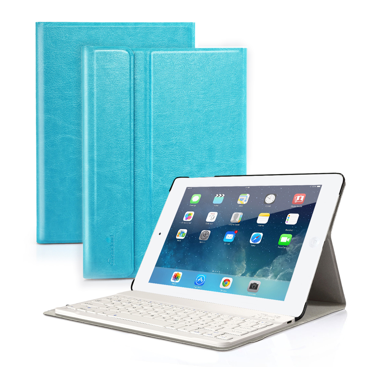 iPad Air 2 Rechargable Wireless Bluetooth Black Keyboard Case Leather Folio Smart Fully Protect Case Cover Stand