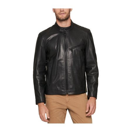 Andrew Marc Mens Leather Motorcycle Jacket blk L