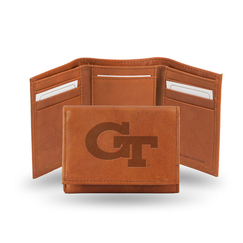 Georgia Tech Embossed Leather Trifold Wallet