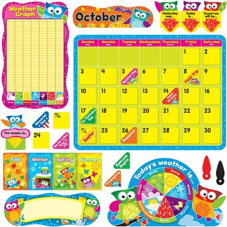 Trend, TEP8363, Owl-Stars Calendar Bulletin Board Set, 1 Set, Assorted ()