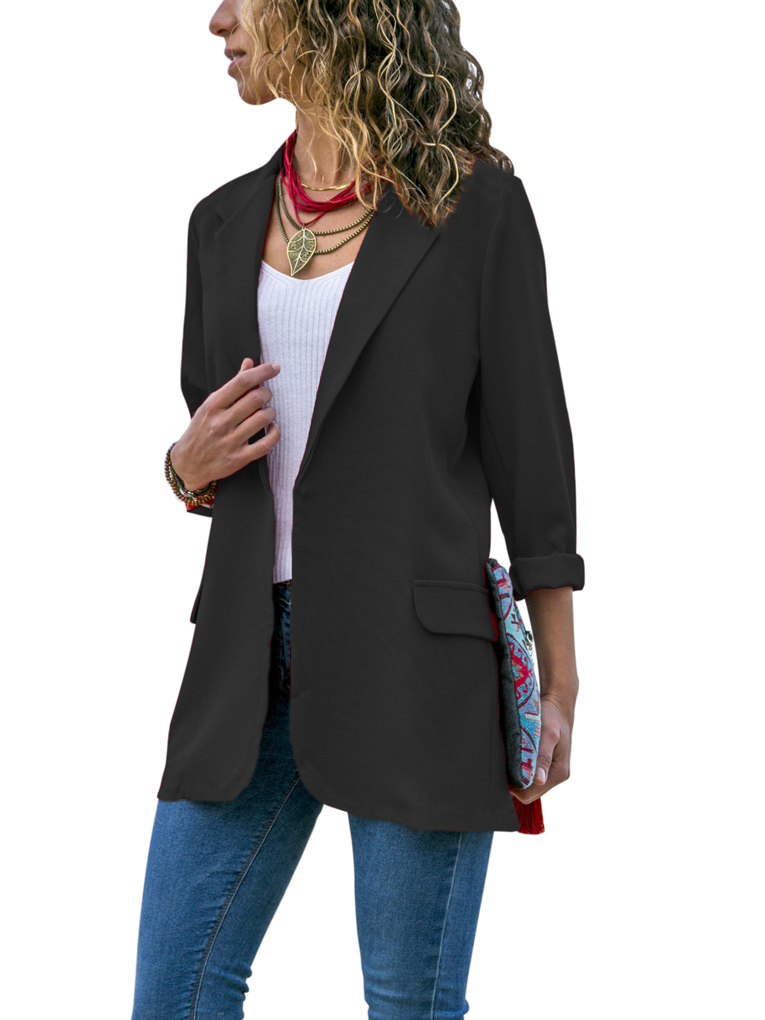 Fashionhe Womens Solid Lapel Outwear Sweater Casual Belt Cardigan Long Sleeve Business Coat