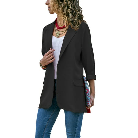 Stylish Fashion Women Long Sleeve Cardigan Casual Lapel Blazer Suit Jacket Top Coat Outwear Black Stretch Blazer Jacket