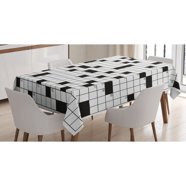 Word Search Puzzle Tablecloth Classical Crossword Puzzle With Black And White Boxes And Numbers Rectangular Table Cover For Dining Room Kitchen 60 X 90 Inches Black And White By Ambesonne Walmart Com