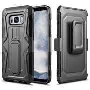 Galaxy S8 Plus Case, Rugged Impact Armor Hybrid Kickstand Cover with Belt Clip Holster Case for Samsung Galaxy S8 Plus - Black