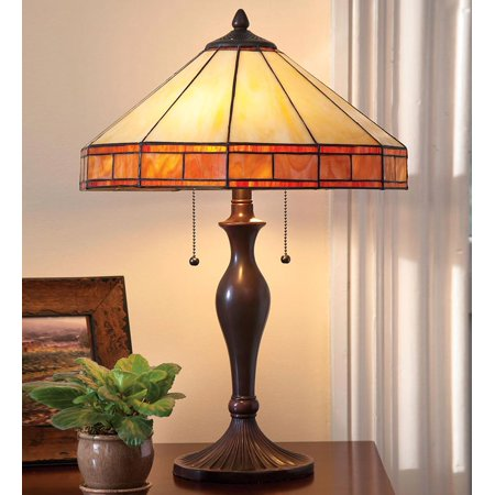 - Tiffany-Style Stained Glass Mission Style Table Lamp
