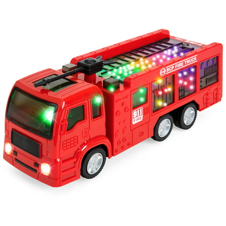 Best Choice Products Toy Fire Truck Electric Flashing Lights and Siren Sound, Bump and Go (3 Fire Trucks)