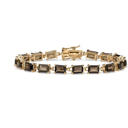 - 16 TCW Emerald-Cut Genuine Smoky Quartz 14k Yellow Gold-Plated Tennis Bracelet 7 1/4