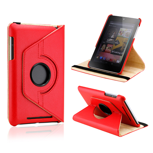 Red 360 Degree Rotating PU Leather Case Cover Swivel Stand for Google Nexus 7 Asus Tablet