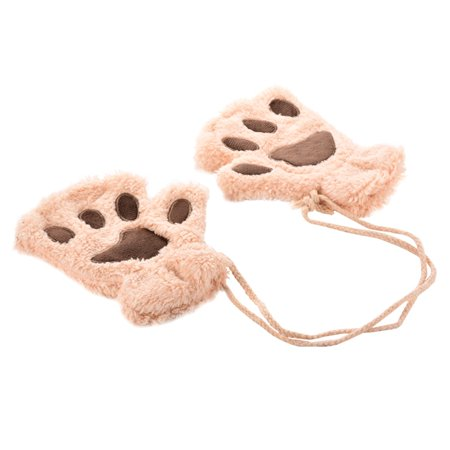 Women Winter Warm Fingerless Gloves Outdoor Cat Claw Half Finger Glove Mitten Beige
