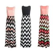 Womens Wave Striped Summer Beach Dress Party Long Maxi Dresses