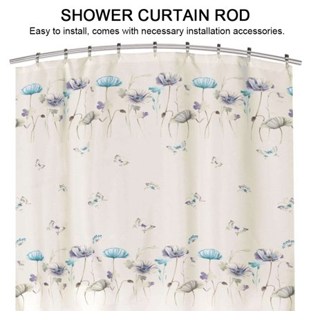 TOPINCN Extendable Telescopic Curved Stainless Steel Shower Curtain Rod Rail For Bathroom Door WindowShower