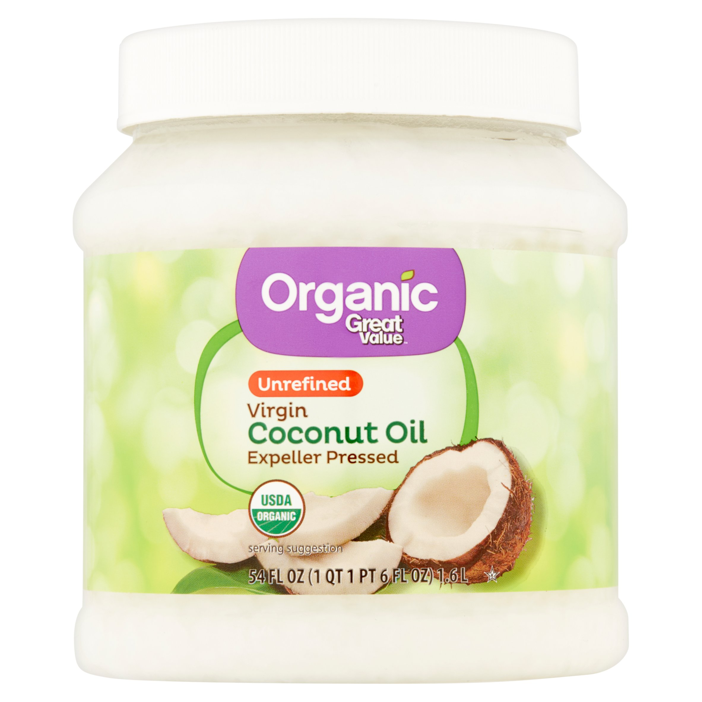 Great Value Organic Unrefined Virgin Coconut Oil, 54 oz